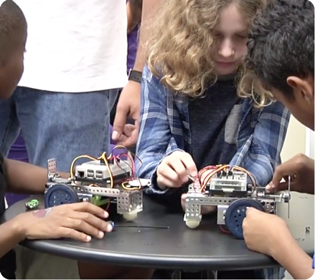 students learning with Mimio MyBot educational robotics system
